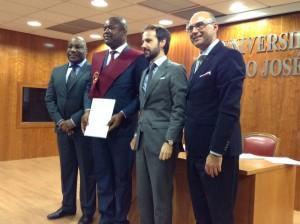 El Rector de la UCJC, El Director de CIGMAP y el Secretario General de GRESIMA (Gobierno de Angola)